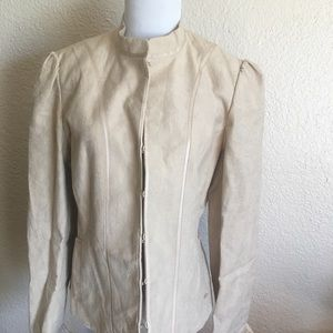 Tan Color Jacquard Jacket